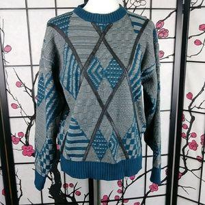 Vtg Grandpa Sweater Leather Trim Chunky Knit
